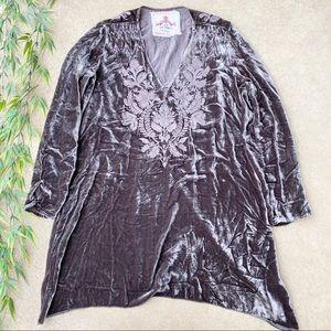 Johnny Was Silk Blend Embroidered Velvet T…